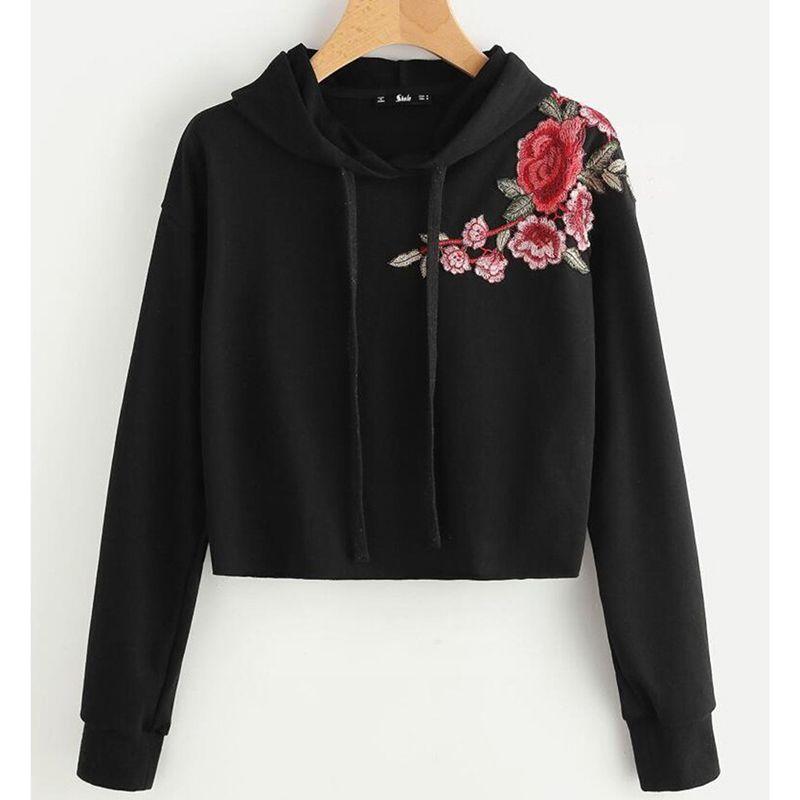 2019 Women Floral Hoodie Black Fashion Loose Embroidery Rose Hoodies Hooded Sweatshirt  Long Sleeve Hoody Top Moletom Feminino D908764 From Keviny ac62eb1c0