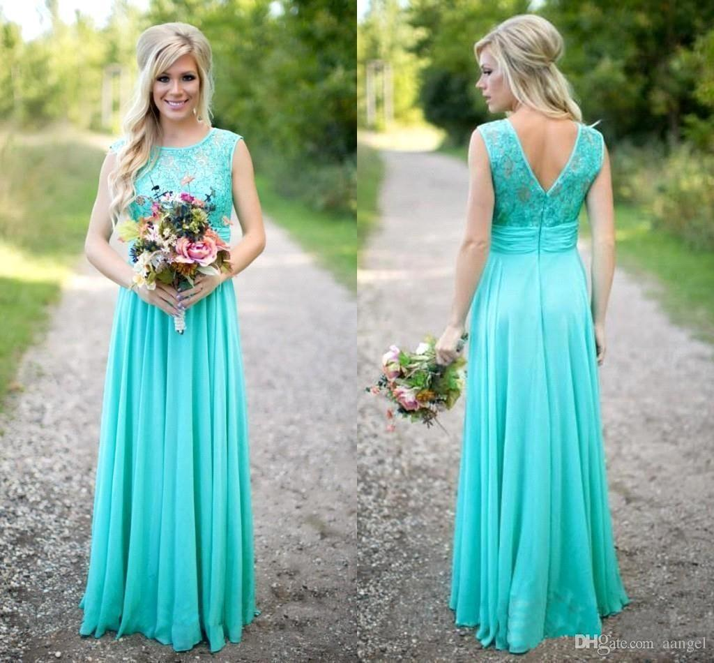 2018 Turquoise Bridesmaids Dresses Sheer Jewel Neck Lace Top Chiffon ...