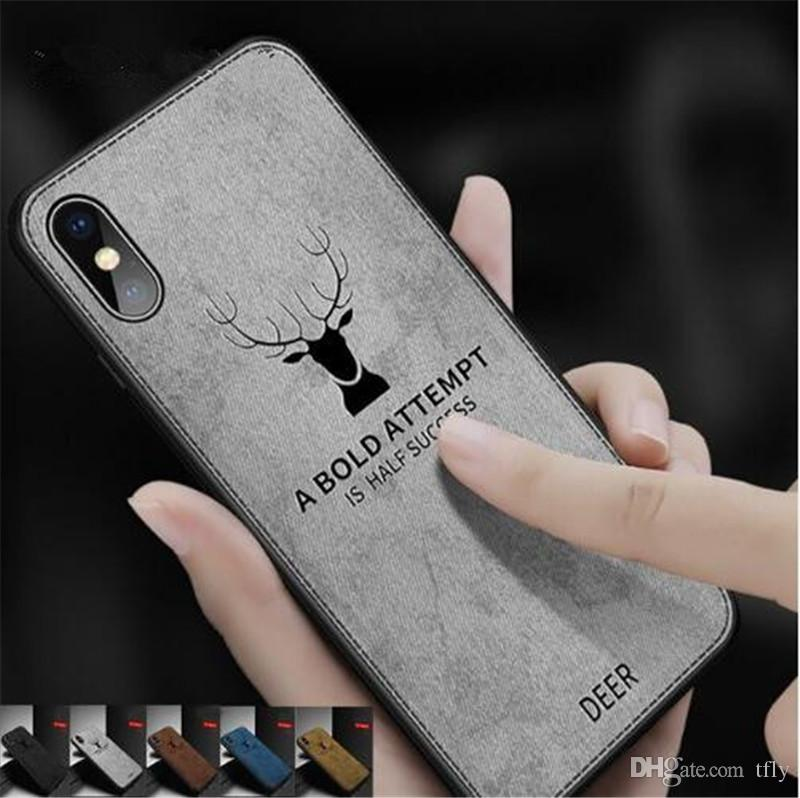 921d7808ef Luxury Retro Fabric Cloth Texture Deer Cell Phone Case Flexible Soft TPU  Cover For Iphone X XS MAX XR 8 7 6 Plus Customized Phone Cases Cute Phone  Cases ...