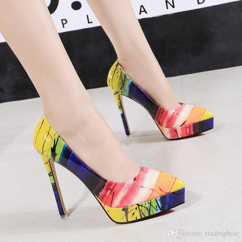 bc3b8e6030 Bright Colorful Rainbow Patent Pu Leather Platform Pointed High Heel Shoes  Women Pumps Size 34 To 39 Birkenstock Shoes Brown Dress Shoes From  Tradingbear, ...