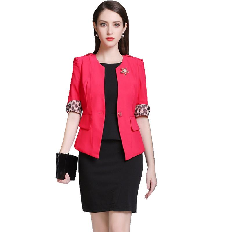 2019 2018 Summer Women Office Suit Red Blazer With Bowknot Short