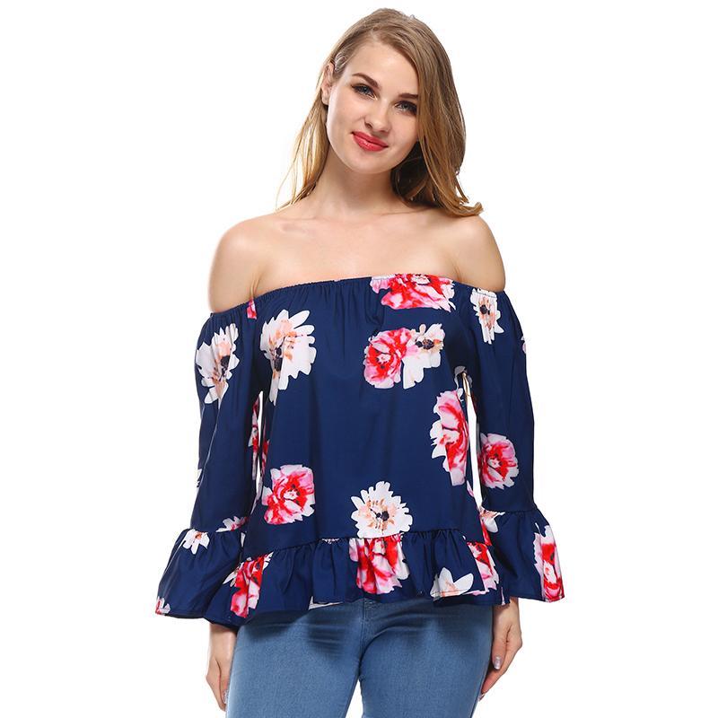 baf44c374d072b Satın Al Uzun Parlama Kollu Bayan Fırfır Şifon Bluz 2018 Vintage Çiçekli  Yaz Kapalı Omuz Tunikler Bayanlar Seksi Backless Gömlek Tops