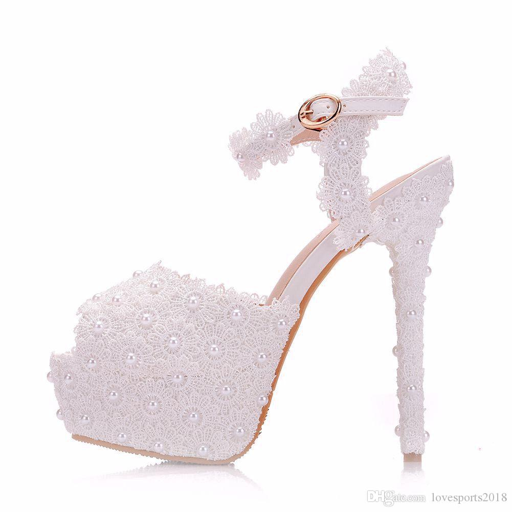 e6536a21e2 New White Lace Flowers Elegant Peep Toe Shoes For Women High Heels Fashion Stiletto  Heel Wedding Shoes Platform Pearls Bridal Sandals High Heels Shoes Green ...
