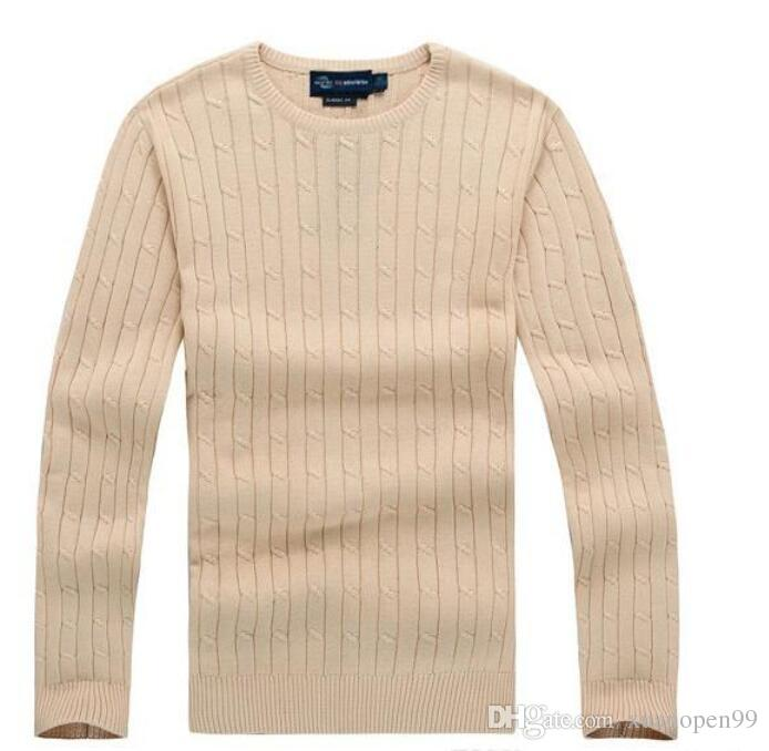 Free Shipping 2019 New High Quality polo Men's Twisted Needle Sweater Knitted Cotton Round neck Sweater Pullover Sweater Male size S-XXL