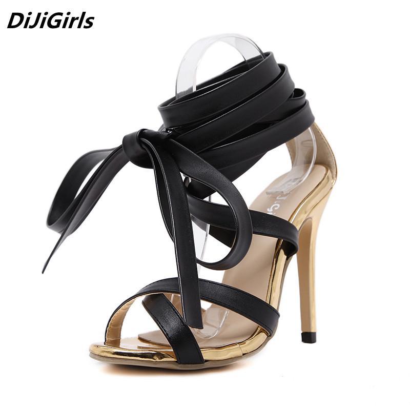 best sneakers 930b2 82dfa Neue Sommerschuhe Frauen Knie High Heels Sandalen sexy Gladiator Lace Up  Sandale Genova Stiletto Sandale Frau Gold Pumpen Stiefel