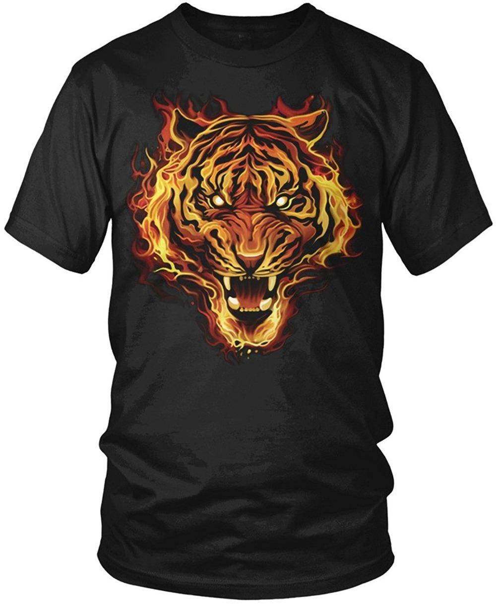 Get T Shirts Printed O Neck Graphic Short Sleeve Flaming Tiger Tiger