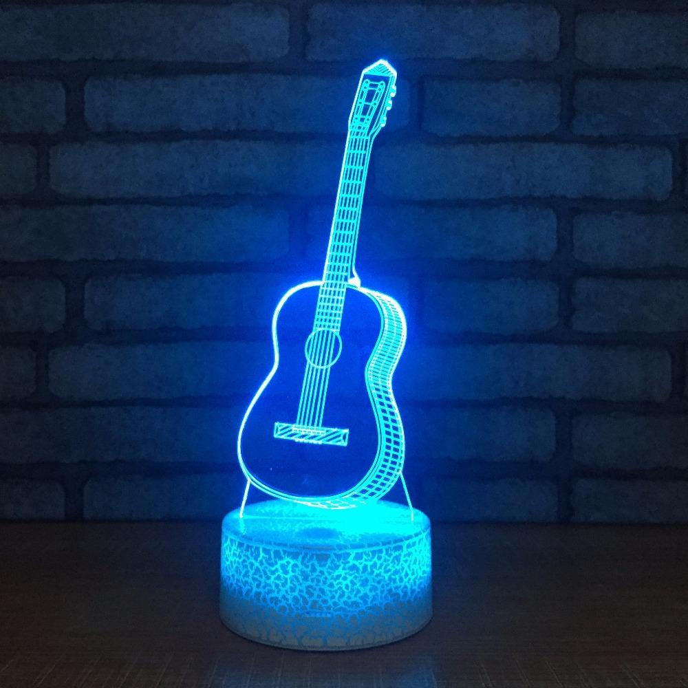 Action & Toy Figures New Guitar 3d Lamp Seven Color Gradient Led Acrylic Visual Lamp Creative Touch Illusion Lamp Led Toys Childrens Toys