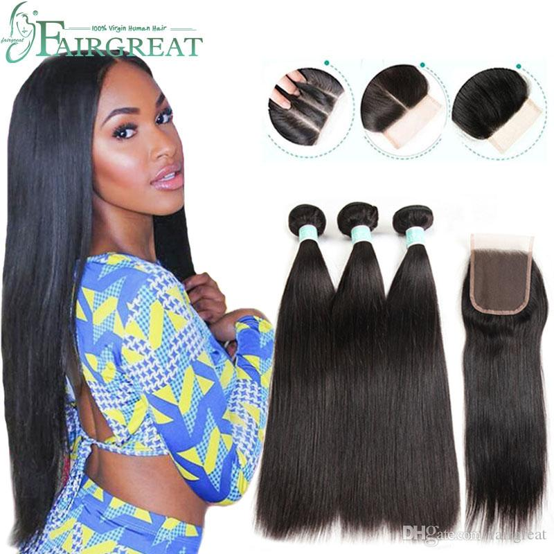 Brazilian Straight Human Hair Bundles with Closure 100% Unprocessed Virgin Hair 3 Bundles with Lace Closure Natural Color Hair Extensions