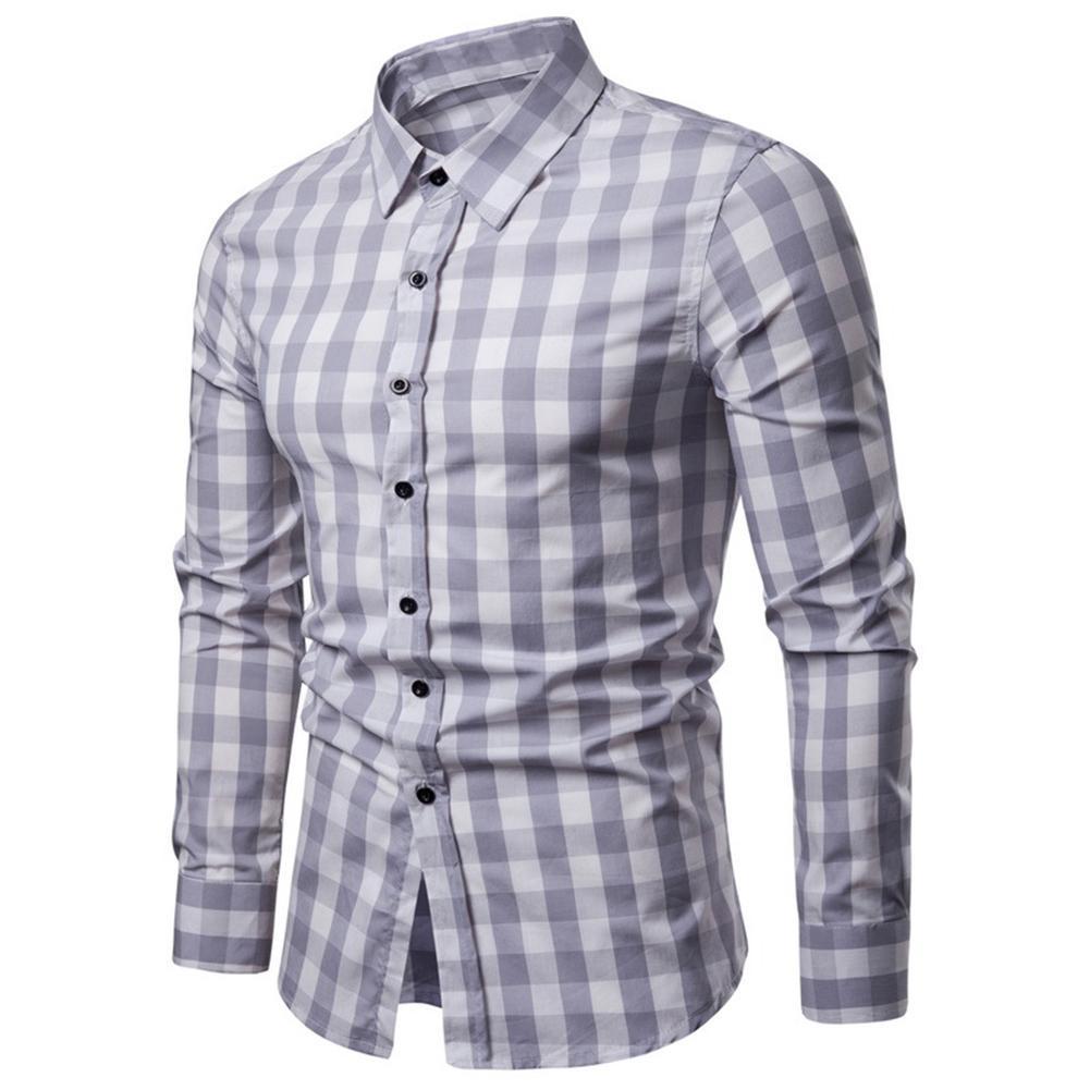 Camisa Hombre Para Y Con Cuadrada RedondoManga FitOtoñoCasual Cuello Redondo LargaSlim E2IWDH9