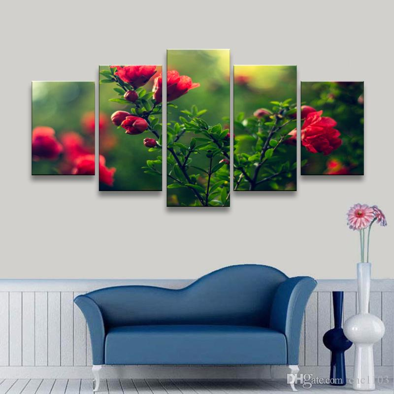 high-definition print Depth Of Field flowers canvas oil painting poster and wall art living room picture PF5-009