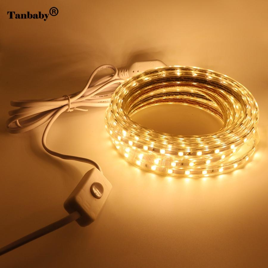 Taby AC220V LED Strip Light SMD 5050 60leds/m IP67 Waterproof flexible led tape with ON/OFF switch 1M/2M/3/4/5/6/7/8/9/10/20M