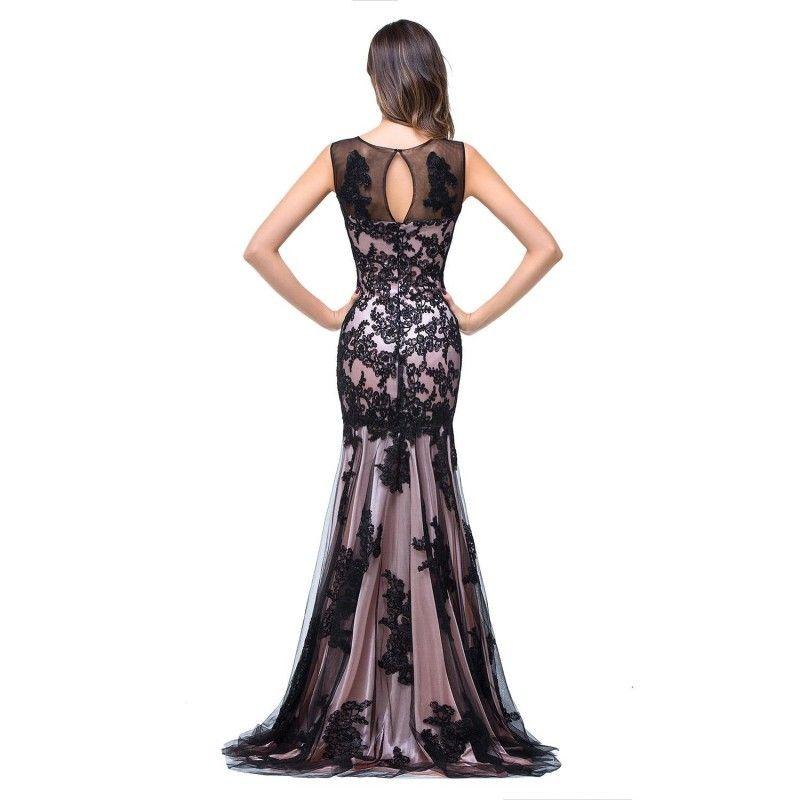 Real Image Sexy New Sheer Tulle без рукавов вечерние платья русалки черные кружева Аппликация формальная вечеринка Женщины длина пола промежутки времени PROP CPS015