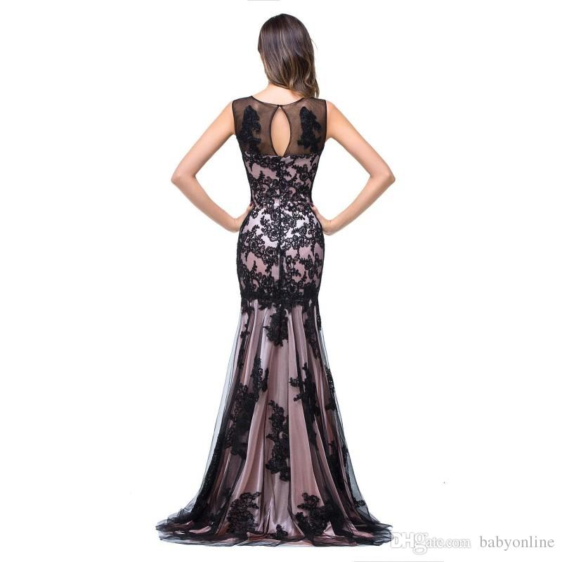 Real Image Sexy New Sheer Tulle Sleeveless Mermaid Evening Dresses Black Lace Applique Formal Party Women Floor Length Prom Gowns CPS015