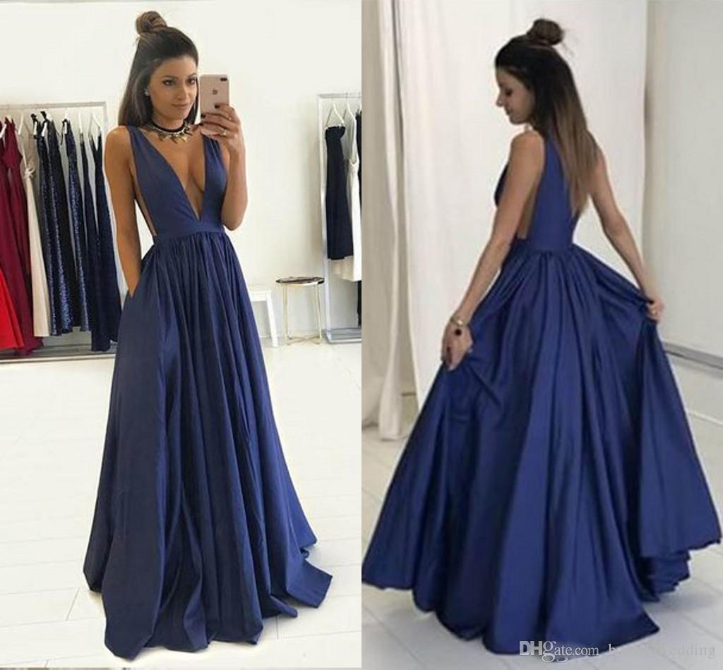 Sexy Deep V Neck Navy Blue Bridesmaid Dresses