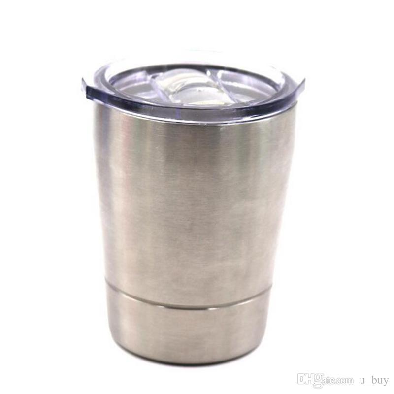 8.5 oz 304 Paslanmaz Çelik Bardak 8.5 oz bardaklar Seyahat Araç Bira Kupa strawslids ile Olmayan Vakum kupalar