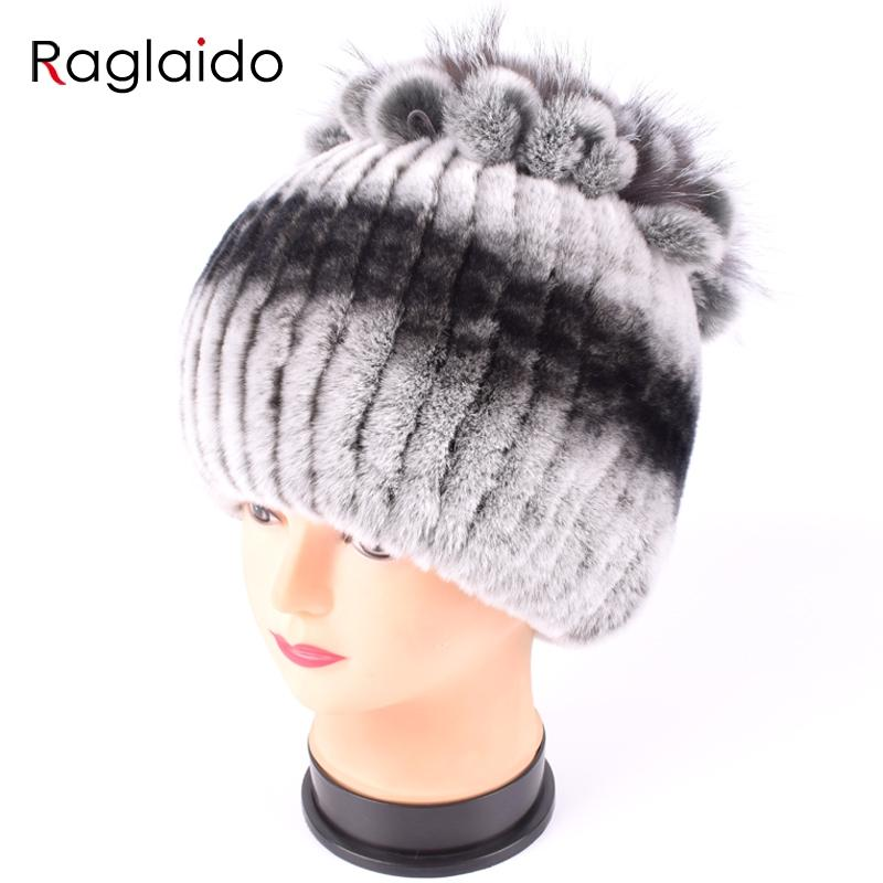 f4e211b8338 Raglaido Fur Hats For Women Winter Real Rex Rabbit Hat Floral Kniting Female  Warm Snow Caps Ladies Elegant Princess Hat LQ11299 UK 2019 From Spectalin