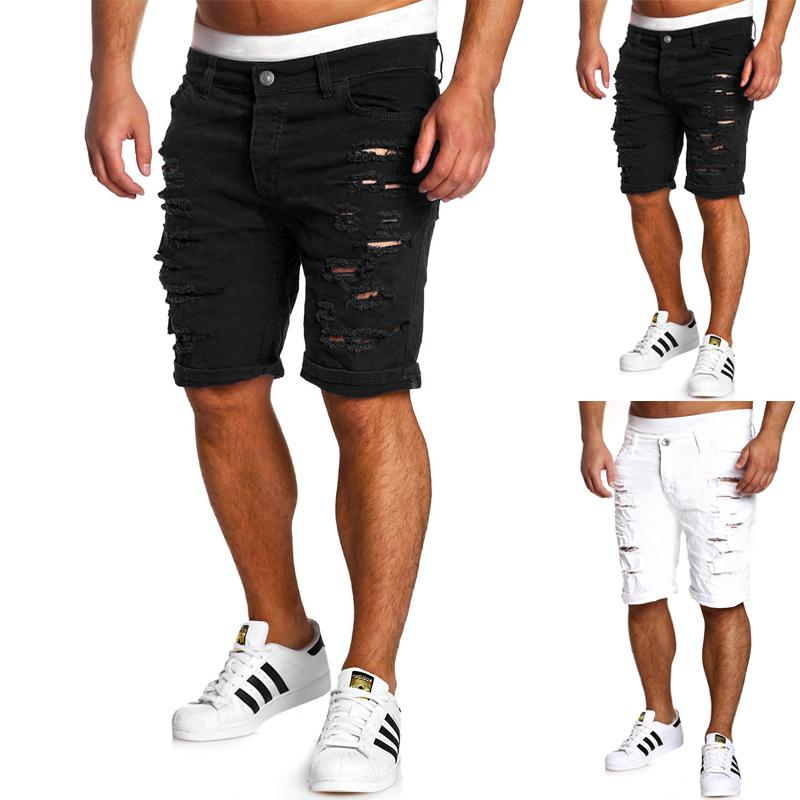 1823ccf7fd 2019 Fashion Ripped Hole Denim Shorts Men Black White Slim Skinny Straight  Casual Jeans Shorts Men Vintage Low Waist Short Homme From Yuzhaolin, ...