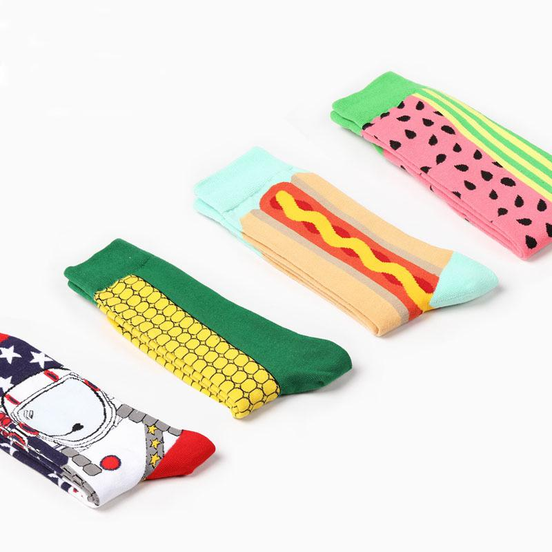 4 Colors Fashion Mens Cotton Socks Colorful Corn Watermelon Art Socks Hit Color Long Happy Socks Men's Dress Sock2PCS=1PAIRS