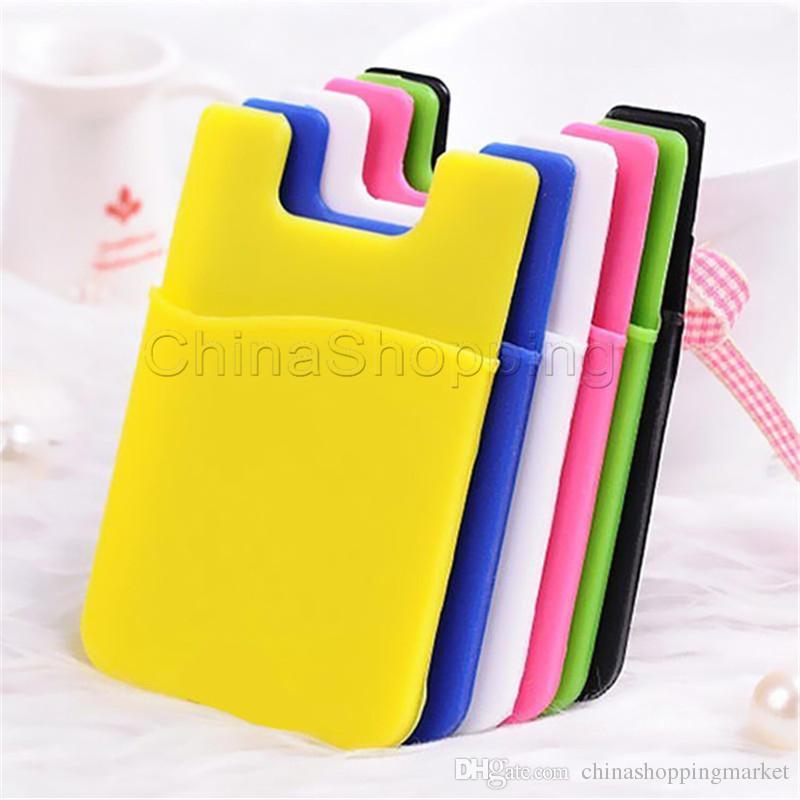 Ultra-slanke zelfklevende creditcard portemonnee telefoon kaart set houder kleurrijke siliconen case voor iphone xr xs max 8 7 6 s plus sumsung s9 plus