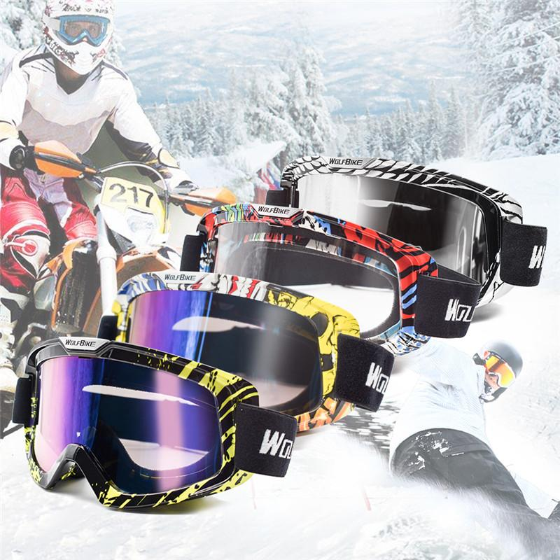 3f81e9ee1fc 2019 WOLFBIKE Ski Goggles Anti Fog UV Protection Snowboard Eyewear Mask  Double Layer Windproof Dustproof Motocross Cycling Glasses From Neyei