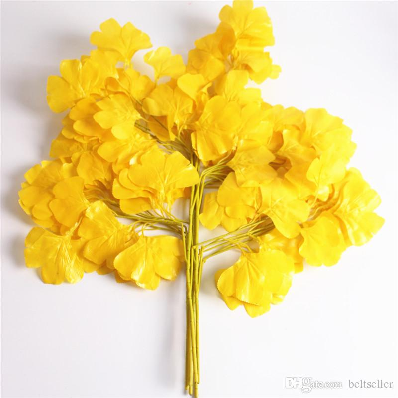 New Arrival Artificial Maple Leaf Plant Flower 5 Branches/pcs white gold yellow color for Home Garden Landscape Decoration