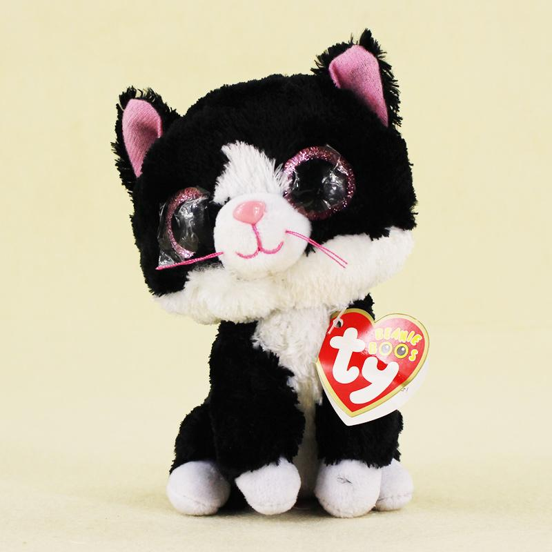 2019 15cm Ty Beanie Boos Big Eyes Plush Toy The Black And White Cat