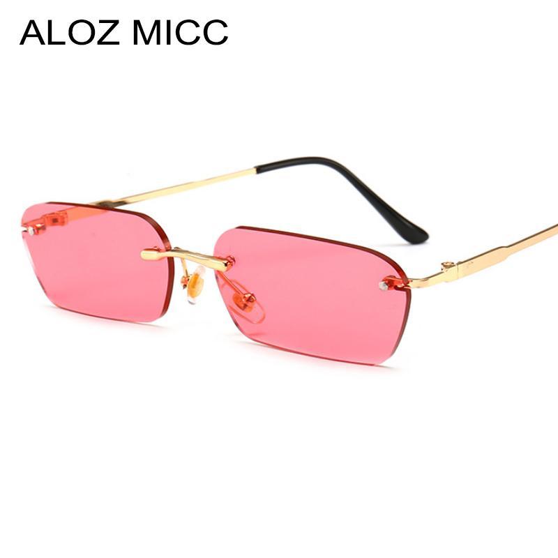 9a8aa5637f2dc Compre ALOZ MICC Rimeless Retângulo Óculos De Sol Das Mulheres Dos Homens  Da Marca Designer Sexy Pequeno Quadrado Óculos De Sol Feminino Óculos De  Metal ...