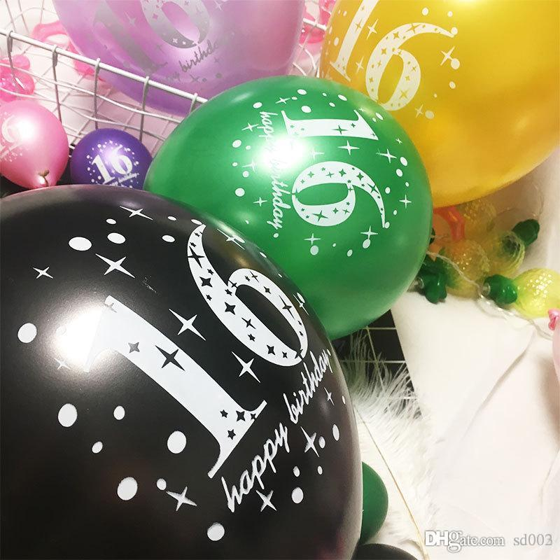 16 Happy Birthday Balloon Pearl Light Latex Air Balloons Thickening Round Party Supplies Favor Articles Fashion Decors 0 35sy ii