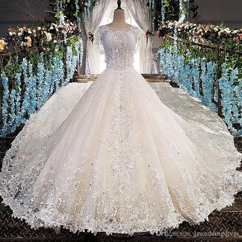 Lace Wedding Dress Cap Sleeve Luxury Long Train See Through Sexy Back Wedding Gown Cut-Out Flowers Long Train