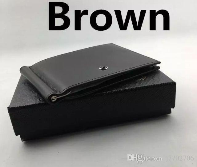 100 ٪ جلد طبيعي رجالي الدولار الأسعار مقاطع المال محافظ الأزياء الكلاسيكية الأسود تصميم محفظة المحافظ حاملي بطاقة الهوية الائتمان للرجل