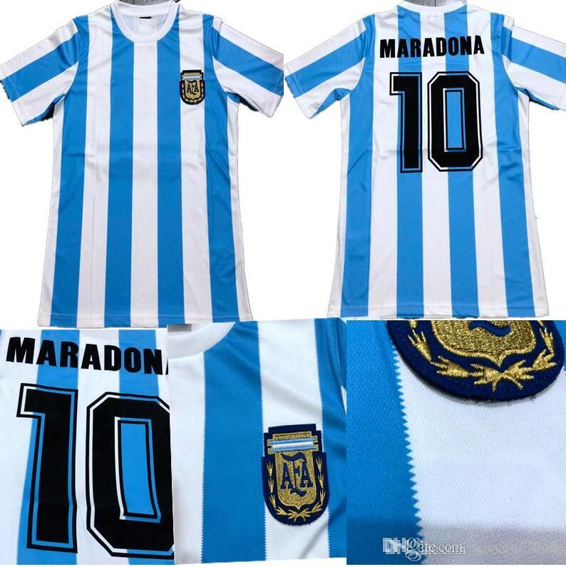 2019 1986 Argentina Retro Soccer Jersey Right Flocking FONT  10 MARADONA  Best Quality 86 Argentina Home Football Jersey Can Custom From Soccer77666 ac9d8979e