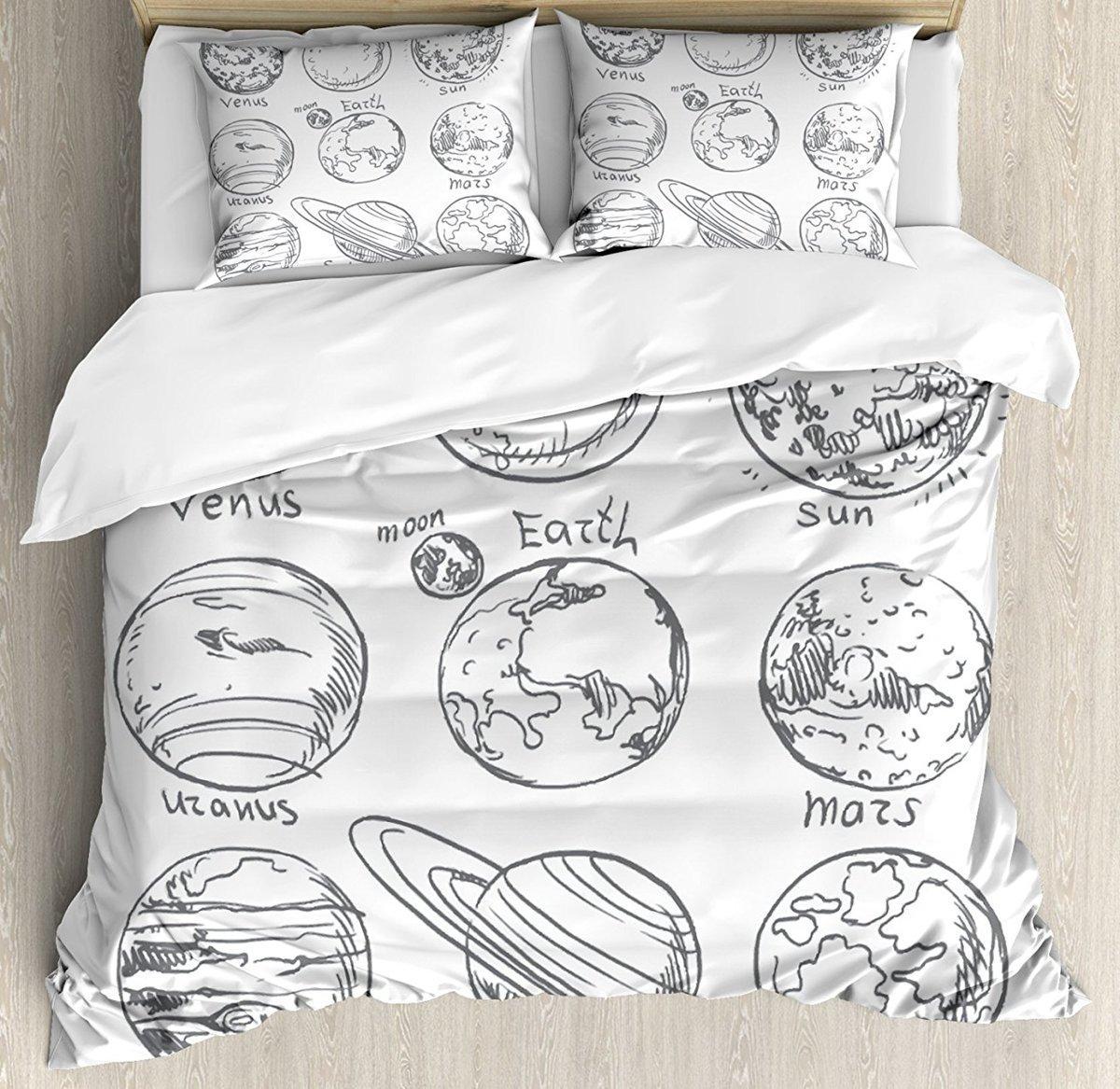 Großhandel Doodle Bettbezug Set Planeten Des Sonnensystems Sonne