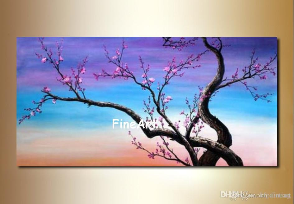 handmade oil wall art oil painting cherry blossom tree art bedroom  beautiful oil paintings on canvas for home decorations modern