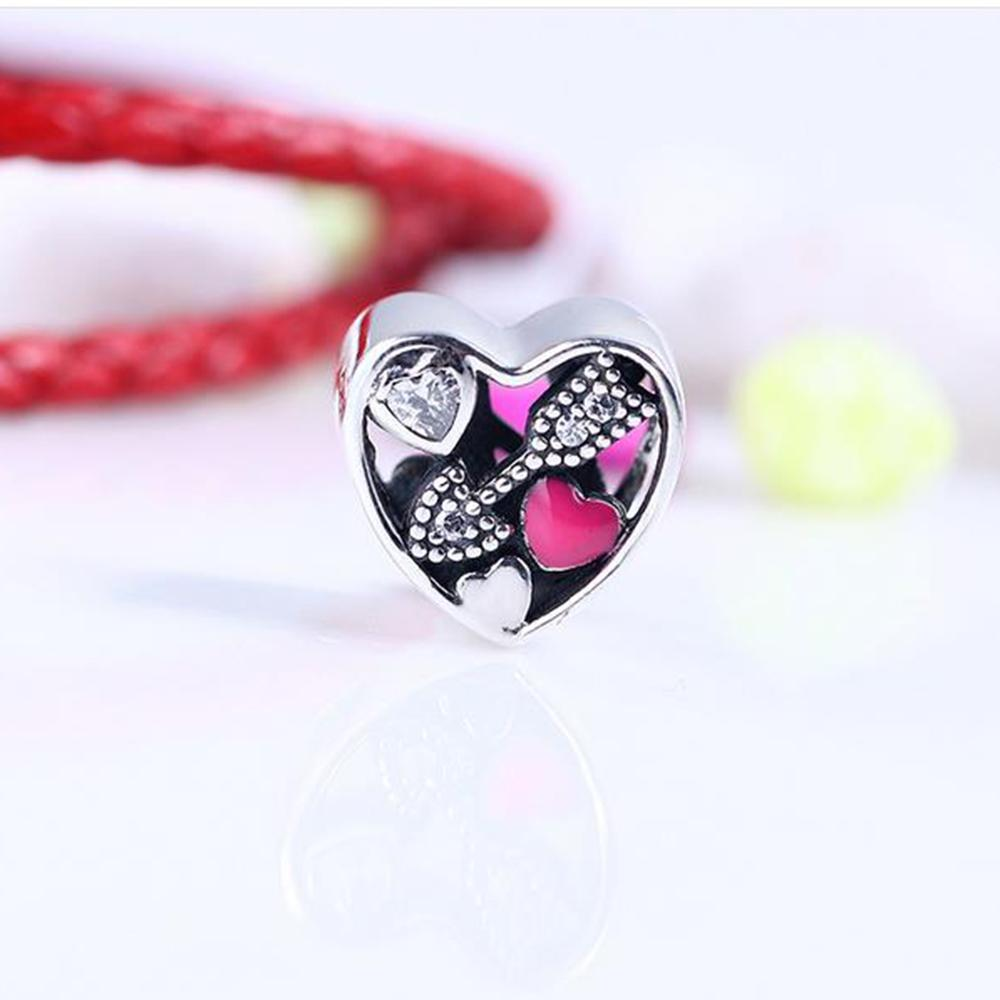 850565e70 Real 925 Sterling Silver Struck By Love, Magenta Enamel & Clear CZ ...