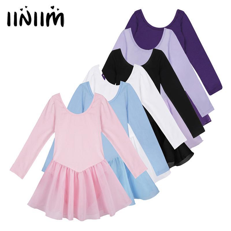 1306a8e6d Iiniim Pretty Girls Ballet Dress Long Sleeve Leotard Tutu Chiffon ...
