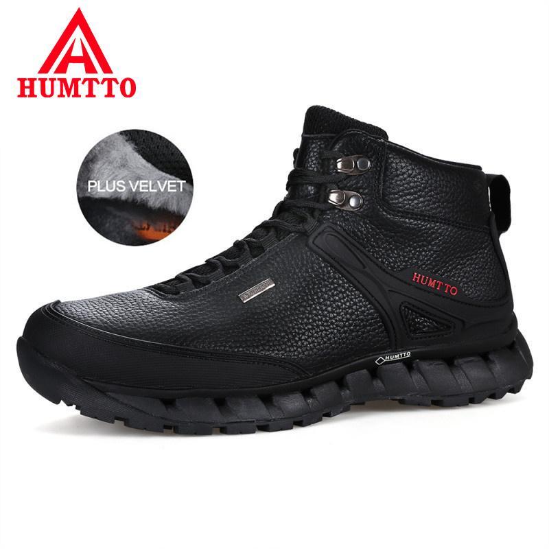 9f776637527 Compre HUMTTO Botas De Cuero Genuino De Invierno Para Hombres Mantener Abrigadas  Zapatos De Seguridad En El Trabajo Para Hombre Con Cordones A Prueba De ...