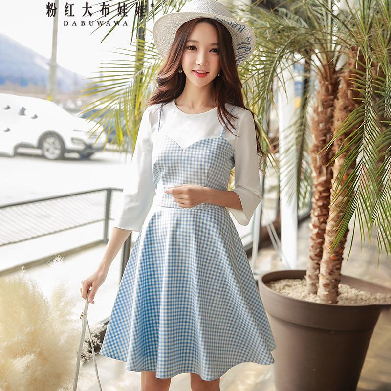 bbfd3bd0d18a Dabuwawa Spring 2018 Round Neck Middle Sleeves Two Pieces Style Umbrella  Skirt Dress Dresses For Cocktail Party White Sundresses For Women From ...