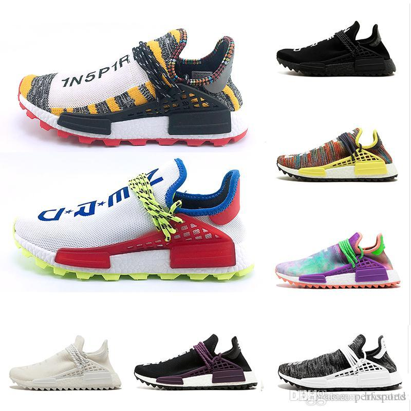 1836aedf9 2019 2018 Human Race Creme X NERD Solar Pack Running Shoes Pharrell  Williams Hu Trail Cream Core Black Equality Trainers Mens Women Sports Shoes  From ...
