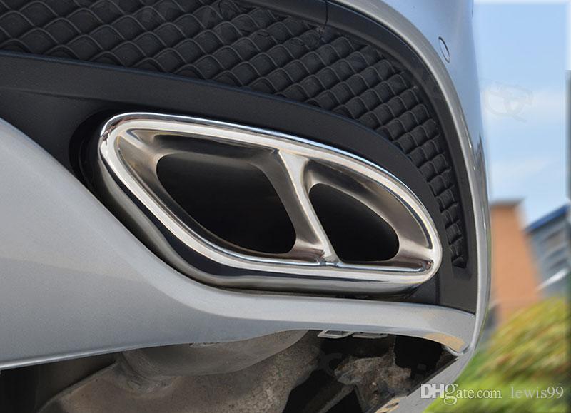 2 stücke Glanz Stahl Auspuffe Zierblende Für Mercedes Benz GLC A B C E-klasse C207 Coupe 2014-2017 W212 W213 W205 X253 C180 C200 Teil Auto Styling