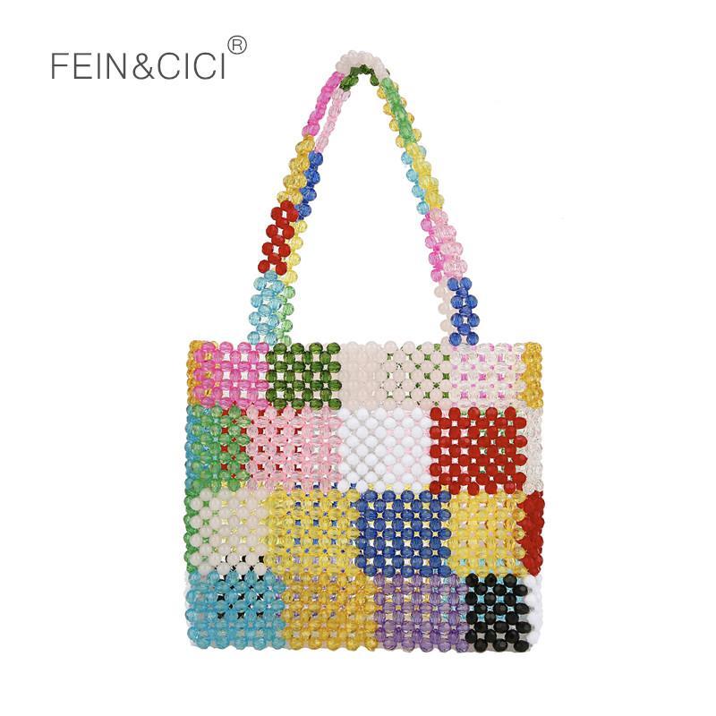 88a37d8de3f pearls bag beaded flower box totes bag women evening party check handbag  2018 summer luxury brand candy purple drop shipping