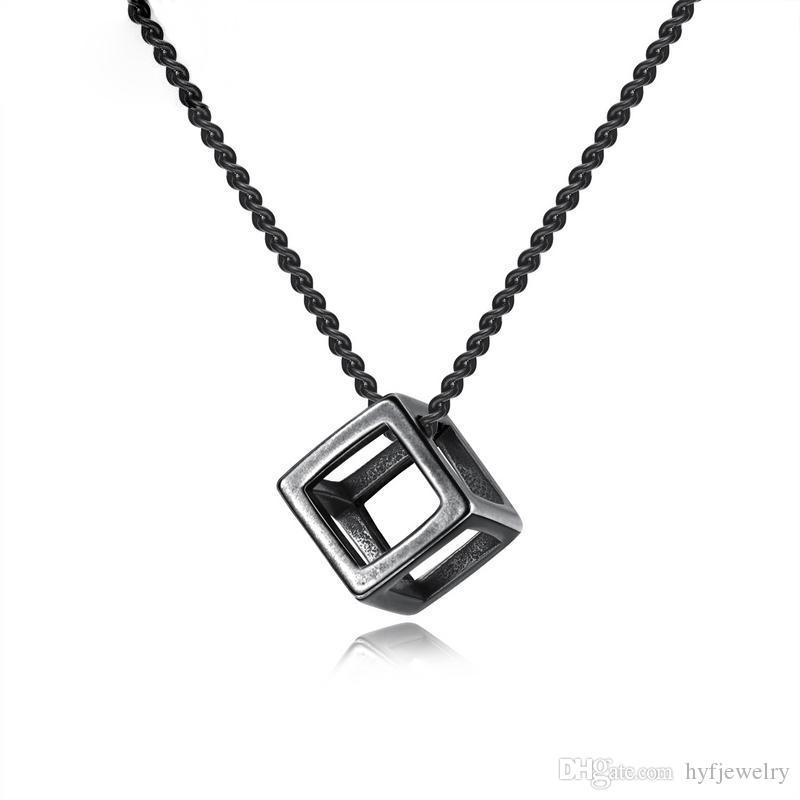4d679ae80 New Design Square Rubik's Cube Pendant Necklaces Jewelry Men Women's 316L  Stainless Steel Simple 3D Hollow Pendants
