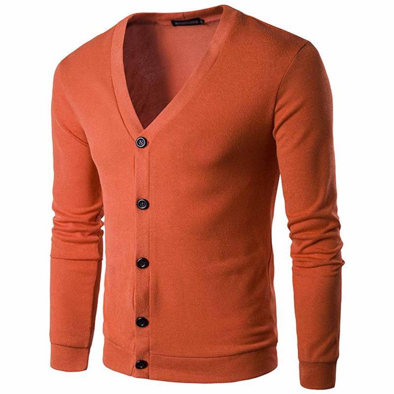 Men Cardigan Sweater Coat Knitwear Jumper Classic Boys Knitwear Long