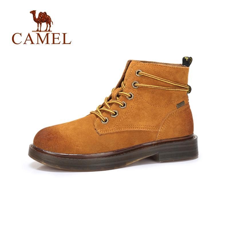 Botas Camel Zapatos Antideslizante Británico Estilo 2018 Mujer Talón Moda Cortas Plano Grueso QCdthrsxB