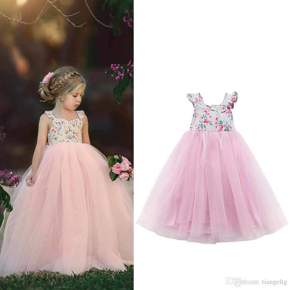 071c2443c 2019 Baby Girls Wedding Dresses Floor Length Ball Gown Bridesmaid Backless  Elastic Tie Bow Lace 3D Flower Printed Grenadine Tutu Princess Outfits From  ...