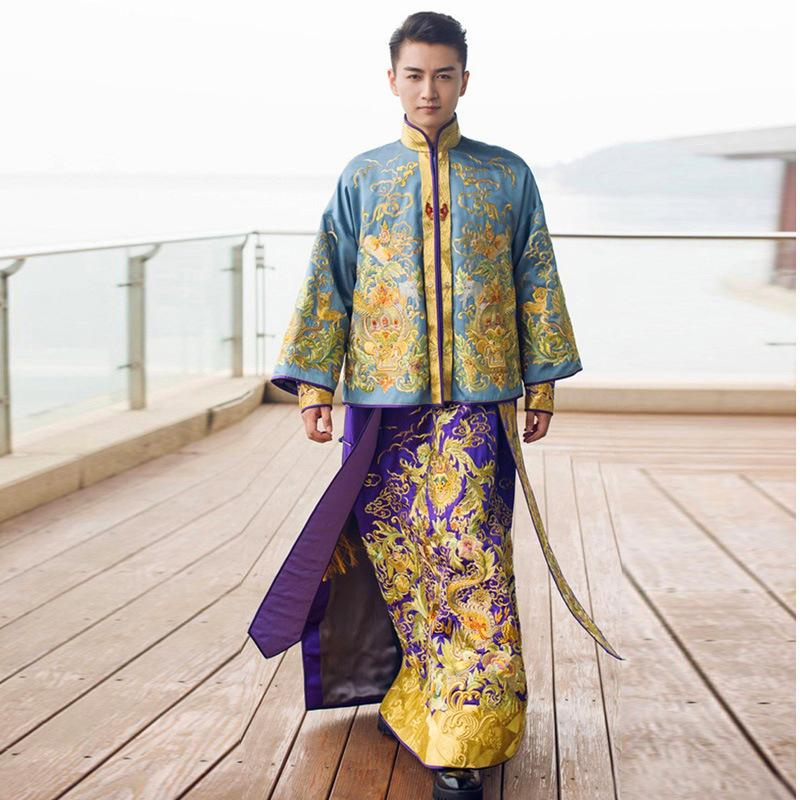 f0682c5bc1 2019 Groom Traditional Chinese Wedding Gown Vintage Cheongsam Men Long  Dragon Phoenix Clothing Embroidery Robe Oriental Evening Dress From Pamele
