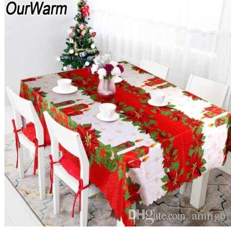 Ourwarm 60x84 Inch Waterproof Christmas Tablecloth Rectangle