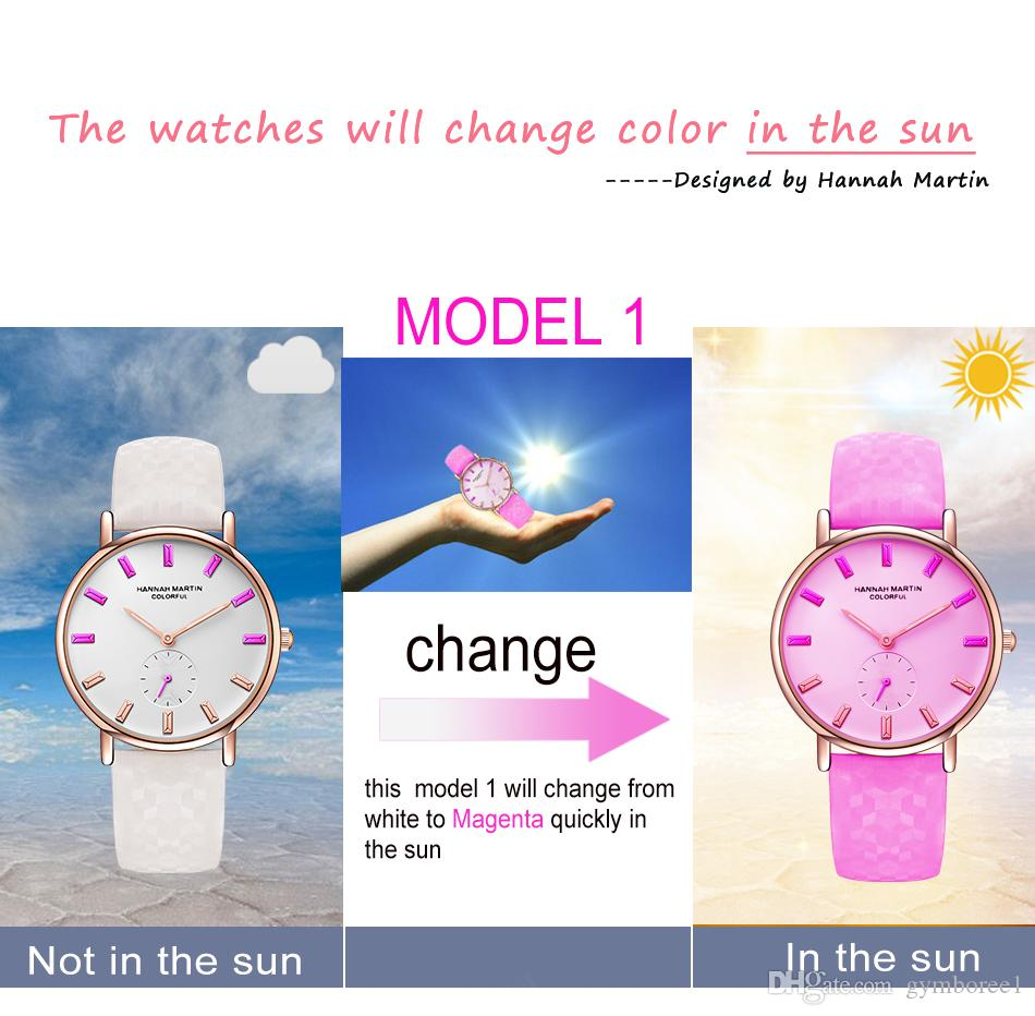 DHL UV Sensitive Watch Under Sunlight BS32 Rose Gold Discoloration Belt Student Trend Cool Lady Color Change Watch