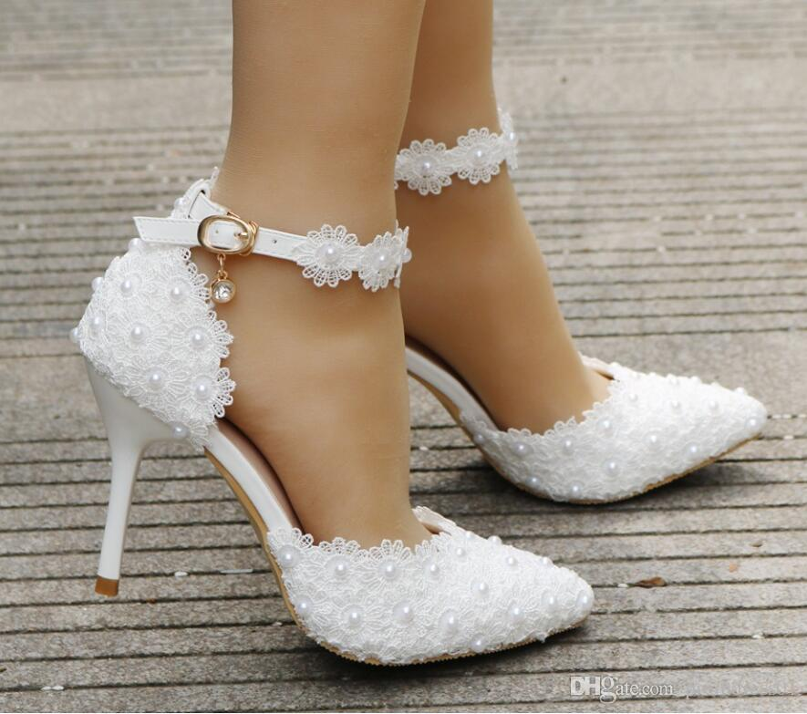White Lace Flower Wedding Shoes Strap Bride'S Shoes And