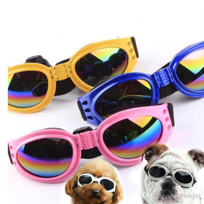 ab8a584370 Compre Nuevas Gafas De Sol Para Perros A Prueba De Viento Gafas Protectoras  Antidesgaste Para Los Ojos De Las Mascotas Gafas Para Perros Resistentes Al  Sol ...
