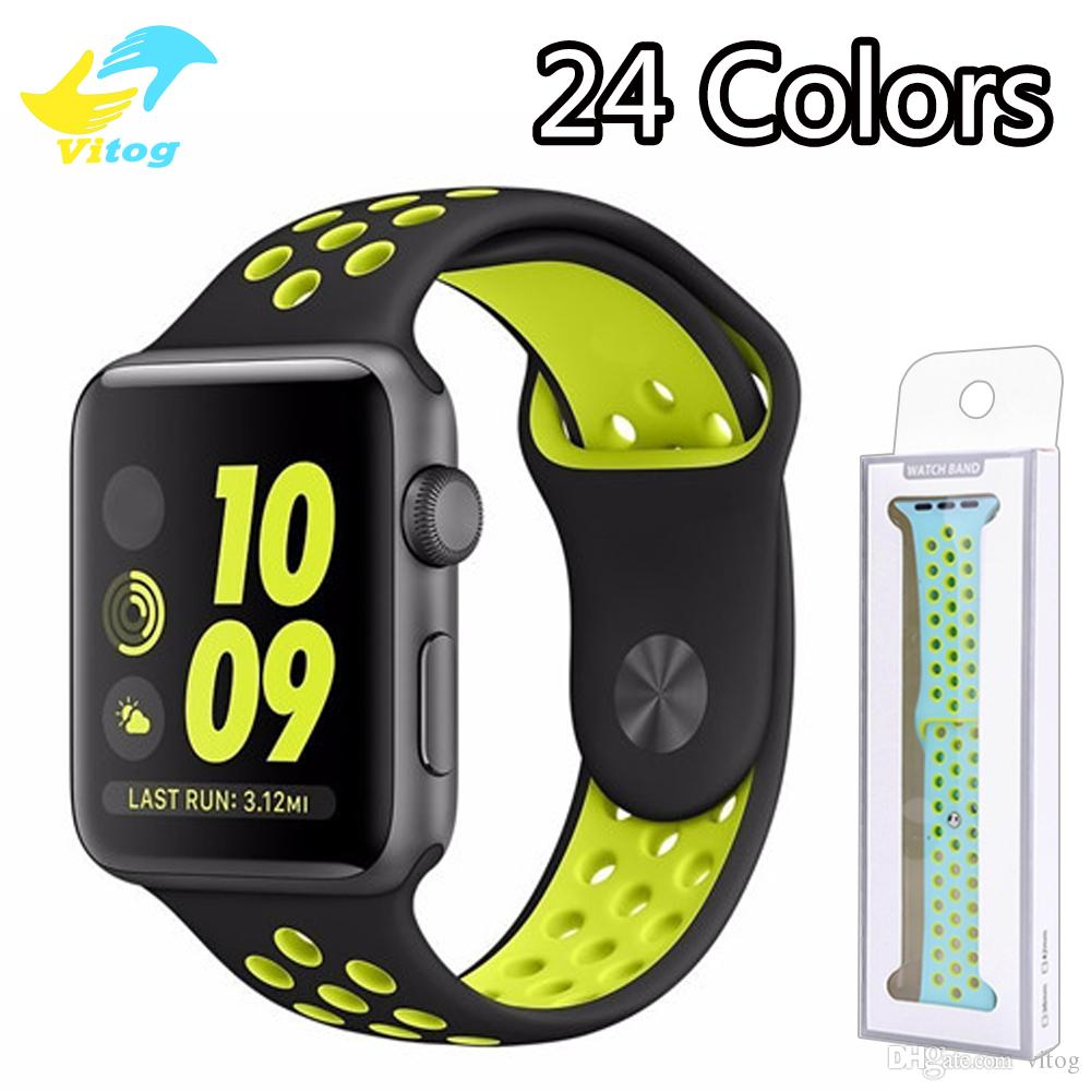 3bdce9810ff Sport Silicone Strap For Apple Watch Band Strap 40mm 44mm 42mm 38mm  Bracelet Rubber Watchband For Apple Watch Series 4 3 2 1 Leather Strap For Watch  Iwatch ...